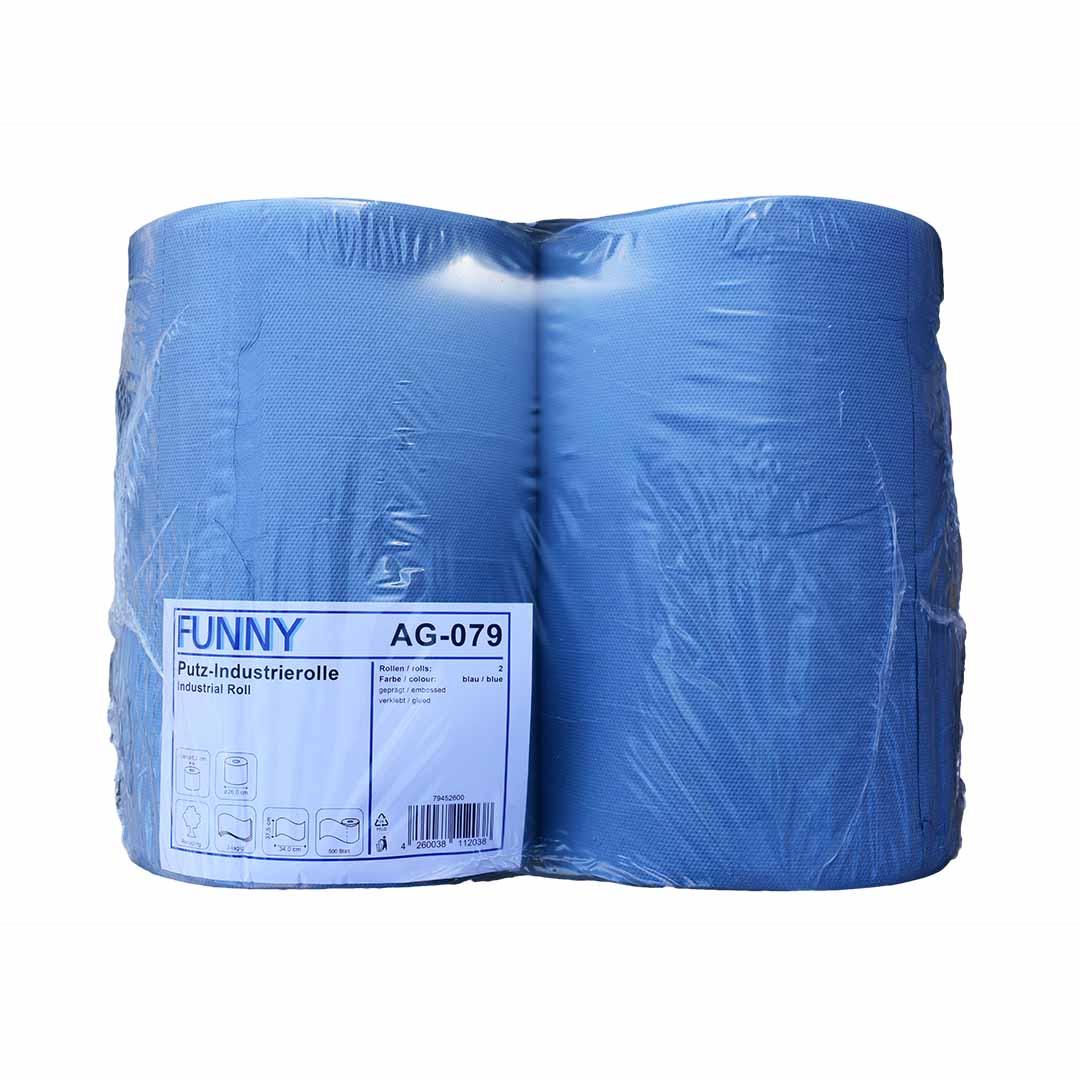 Putzpapierrolle, Funny AG-079 3- lagig, Recycling Blau