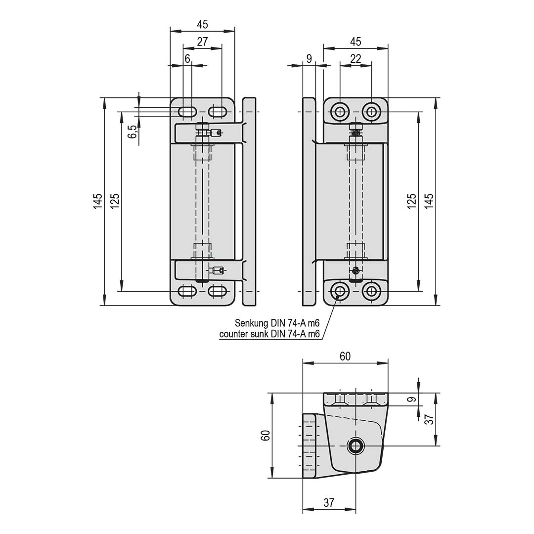 Eckscharnier STUV für aufliegende Kühlhaustüren - nicht steigend